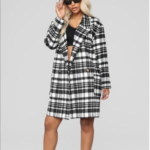 Jackets & Blazers - Black and white plaid coat